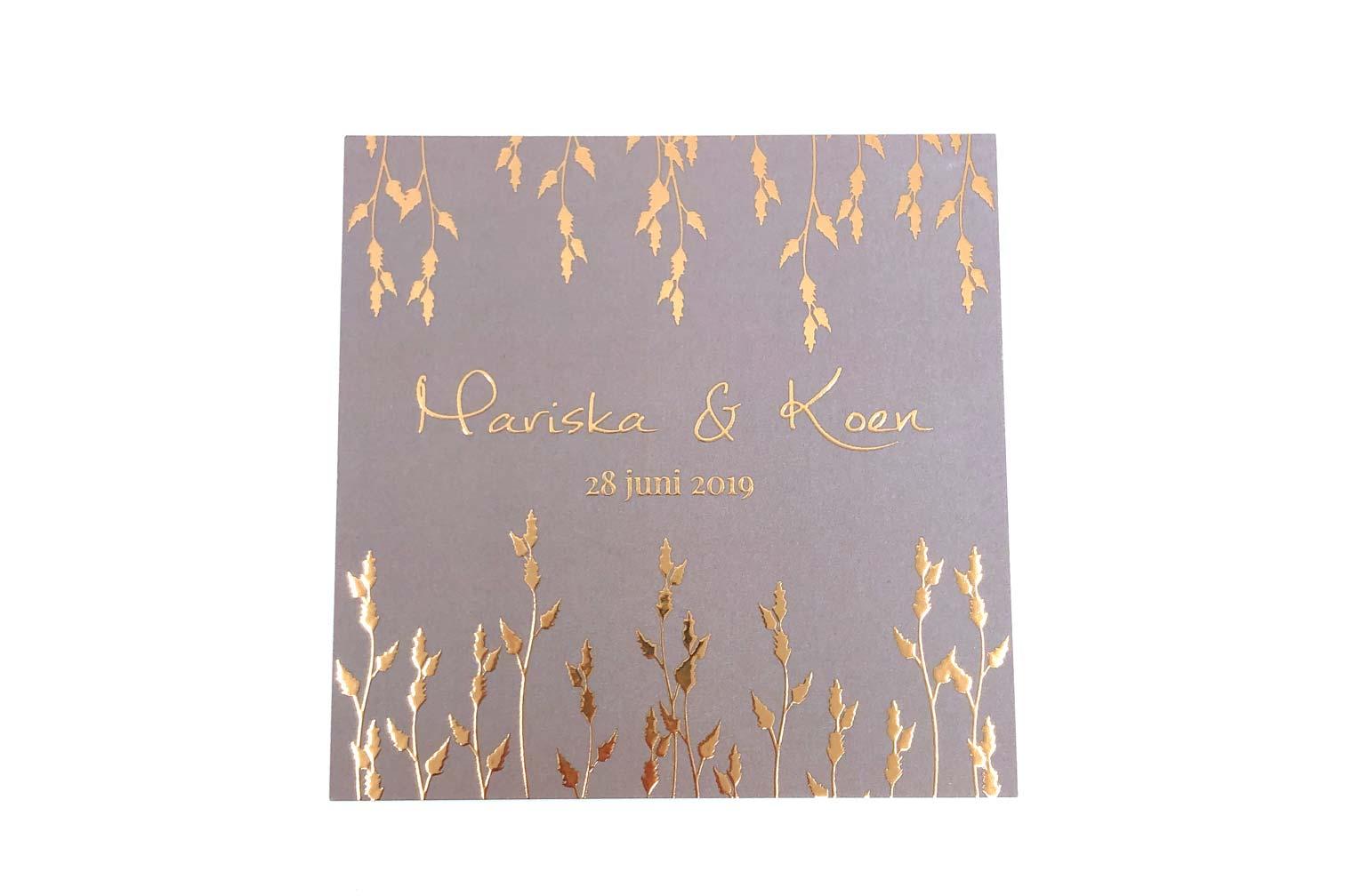 Stijlvolle Huwelijksuitnodiging Met Rose Gouden Bladeren Cotton Lace