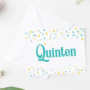 Vrolijk Geboortekaartje Confetti Aqua, Mint en Okergeel