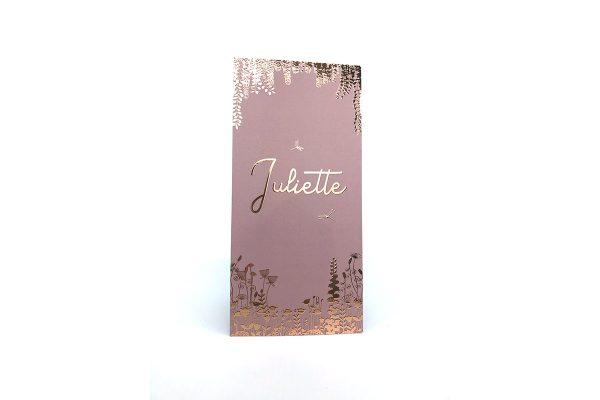 Geboortekaartje Dragonfly Forest roze met rosé goud of koper