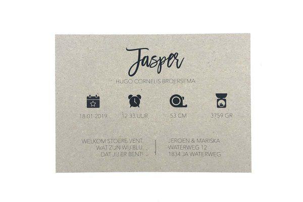Stoer geboortekaartje op grijs karton