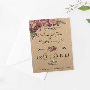 Kraft uitnodiging met romantische rozen