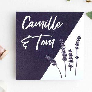 Uitnodiging landelijke trouwkaart Provence lavendel katoenpapier