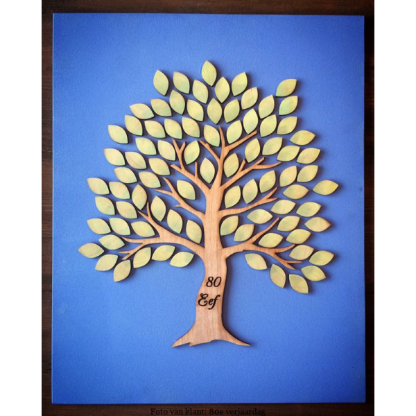 3D Gastenboek boom van houten foto van klant